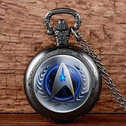 Wholesale Steampunk Fob - Antique Bronze 13 Style Star Trek Quartz Pocket Watch With Necklace Steampunk Men Women Fob Gift Xmas