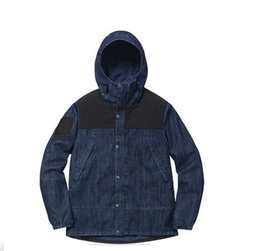 Wholesale Trench Coats Beige Mens - Wholesale- 15SS Retro Denim Jackets Men Fashion Windbreaker Jacket Coat High Quality Mens Denim Trench SMC0743-4