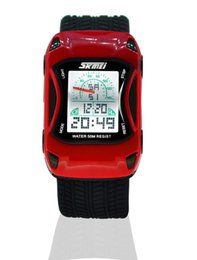 Wholesale Popular Led Car - 2017 New Fashion Designer Toy Car Watches LED Digital Sports Kids Wristwatches Unique Dual Time Popular Top Best Military Boys Girls