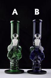 2019 equipamento de face Novo Reciclador de Petróleo Rig Bongos De Vidro Tubos de Água Crânio Hookah Engraçado Rigs Vidro bong narguilé percolado verde azul Frete Grátis desconto equipamento de face