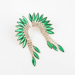 Wholesale Design Feather Earring - Brincos Earring Indian Jewelry Feather Design Dangle Drop Earrings With Green Rhinestone