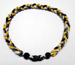 Wholesale Tornado Necklaces Wholesale - Wholesale Germanium titanium 3 ropes necklace tornado braided SPORTS football baseball new tornado 2017 healthy Fashion necklace