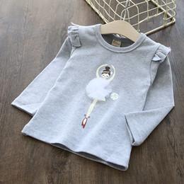 Wholesale Dancing Girl Shirt - New 2017 Lace Balle Dance Girls Tops T-shirts Tee Long Sleeve Cotton Shirts PulloverCasual kids T-shirt Girl Shirts 10pcs lot Grey A7446