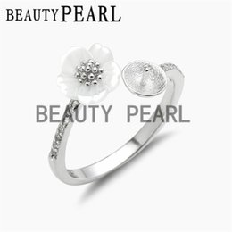 Wholesale Wholesale Shell Pearl - 5 Pieces Pearl Ring Blanks 925 Sterling Silver White Shell Flower Ring Semi Mount for DIY