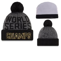Wholesale Cheap Soccer Cap - Chicago Cubs Champion Beanies 2016 World Series Baseball Beanies with Pompom High Quality Beanie Hat Cheap Winter Hats Skull Caps for Adults