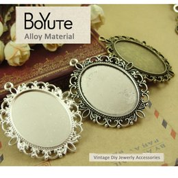 Wholesale Cameo Necklace Sets - BoYuTe (20 Pieces Lot) 40*30MM 3 Colors Zinc Alloy Cameo Cabochon Base Setting Oval Blank Bezel Pendants Double Support Diy Jewelry Necklace