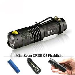 Wholesale Ultrafire Cree Aa - 2017 CREE Q5 LED Mini flashlight led lanterna cree torch Zoom 2000 lumens waterproof 14500 rechargeable battery OR AA