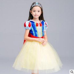 Wholesale Halloween Snow White Cosplay - Halloween Costume Children Cosplay Dress Snow White Girl Princess Party Dress Cloak Children Clothing Sets Kids Clothes Girls Dresses