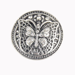 Wholesale Butterfly Alloy Charms - High quality 18mm metal button charm butterfly rhinestone snaps button for ginger snaps buttons bracelet jewelry ZA326