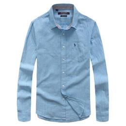 Wholesale Men S Linen Dress Shirts - Wholesale- Hot 2016 Autumn Male Fashion Fluid Stripe Shirt Breathable Men Business Casual Long-sleeve Linen Cotton Shirts Imported Clothi