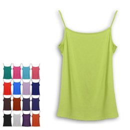 Wholesale Ladies Camisoles Colors - Wholesale- 17 Colors 2016 Summer Women Fashion Slim Tops Bodycon Camisole Lady Sleeveless Tees With Adjustbale Straps Female Basic Camis