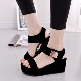 Wholesale Shoes Thick Crust Fish Head - 2017 summer new Korean muffin thick crust slope with high-heeled black shoes Fashion fish head Roman sandals flat shoes tide 363