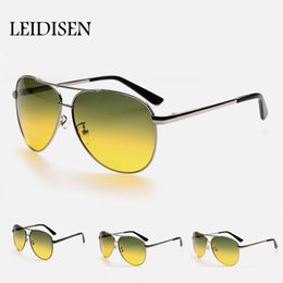 Wholesale Anti Driver - Wholesale- UV400 Polarized Sunglasses Night Vision Goggles Driver Glasses Silver Night Driving Car Yellow Anti-glare Sun Glasses Men
