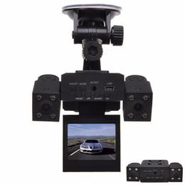 Wholesale Dual Car Dvr Recorder - H3000 Dual Lens Car DVR with 8 LED IR Night Vision Cameras 2.0 inch TFT LCD Rotary Screen&Rotary Lens Car Black Box Car Recorder