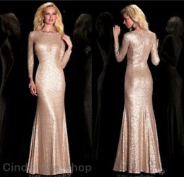 Wholesale Nude Sparkly Dresses - 2018 Vintage Sparkly Evening Dresses Mermaid Long Sleeves Scoop Floor Length Formal Prom Party Special Occasion Gowns Cheap