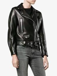 Wholesale Short Leather Jackets For Ladies - Sheepskin genuine leather jackets for women STUDIOS ladies blazer lapel neck jackets short style