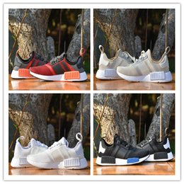 """Wholesale Hot Brand Shoes Mens - 2017 Hot Sale Top Quality NMD R1 W """"Blue Glow"""" Shoes Mens Women's Athletic Running sneaker Shoes Running Shoe Brand Boost size Euro 36-45"""