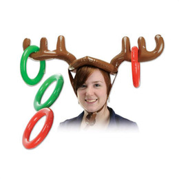 Wholesale Kids Reindeer Antlers - 2016 Christmas Toy Children Kids Inflatable Santa Funny Reindeer Antler Hat Ring Toss Christmas Holiday Party Game Supplies Toy