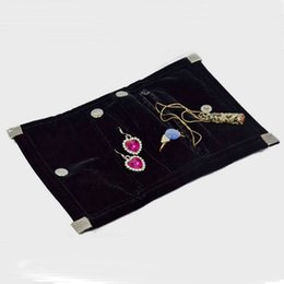 Wholesale Roll Black Velvet - Free Shipping Mini Black Velvet Jewelry Roll Bag Portable Organizer Bag Foldable For Earrings Ring Pendant Necklace Storage