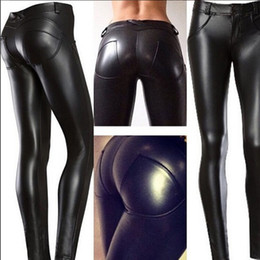 Wholesale Butt Pants - COMPRESSION butt lifting high Elast PU Leather Pants leggings women fitness leggins Mid Waist Shiny Stretchy