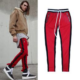 Wholesale Korean Hip Hop Pants - justin bieber 90s korean hip hop fashion urban clothing kanye west men jumpsuit jogger side zipper track pants stripe sweatpants