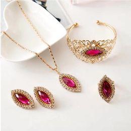 Wholesale Peacock Ring Bracelet - Vintage crystal earrings + necklace + bracelet + ring 4 pieces of wedding jewellery
