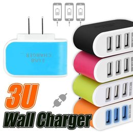 Wholesale Multiple Usb Charger Iphone Wall - wall charger 5V 3.1A EU US Plug 3 Ports Multiple LED Wall USB Smart Charger Adapter Mobile Phone Device Fast Charging for iPhone