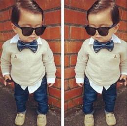 Wholesale Jeans Long Sleeve Set Boy - 2Pcs Baby Boys Long Sleeve Shirt + Braces Jeans Set Kids Casual Clothes Outfits