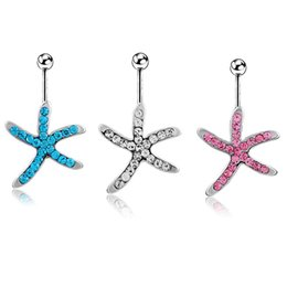 Wholesale Cute Navel Jewelry - Belly Button Rings Starfish Animal Sexy Cute 316L Surgical Steel 14G Navel Rings Jewelry