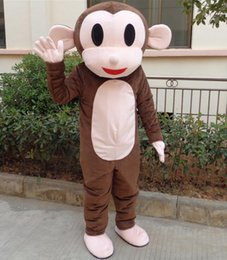 Wholesale Monkey Mascot Head - SX0720 with one mini fan inside the head brown monkey mascot costume for adult to wear for sale