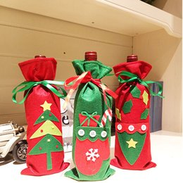 Wholesale Tree Decorations Pouches - Wholesale- Red Wine Bottle Cover Bags Christmas Dinner Table Decoration Home Party Decors Santa Claus XMAS Gift Pouch Holder AY878531