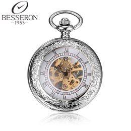 Wholesale Pendant Pocket Watch Silver - Wholesale-Besseron Reloj Steampunk Mens Titanium Mechanical Pocket Watch Vintage Pendant Silver Pendant Watch Chain Orologio Da Tasca