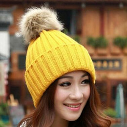 Wholesale Classic Headgear - Winter Fashion Beanie Classic Tight Knitted Fur Pom Poms Hat Women Cap Winter Beanie Headgear Headdress Head Warmer Top Quality free shippin