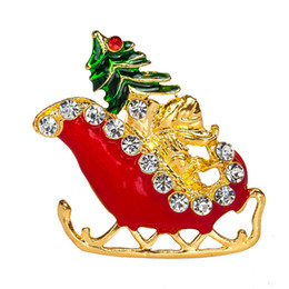 Wholesale Tibet Clothes - Christmas Brooch Rhinestone Crystal Sled Santa Claus Brooch And Pin Clothes Decor Christmas Gifts XZ87