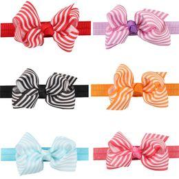 Wholesale Making Baby Bows Headbands - Newborn Baby Girls Striped Headbands Grosgrain Ribbon Bows 8.5cm Kids Hand Made Bowknot Headbands Children Hair Accessories 0-3Years KHA312