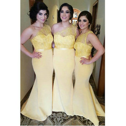Wholesale Junior One Shoulder Summer Dress - Sexy One Shoulder Long Yellow Lace Bridesmaid Dresses 2017 Sexy Mermaid Junior Party Dress Satin Plus Size vestido madrinha