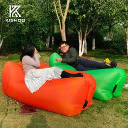 Wholesale portable beds adults - Wholesale- 2017 Hot Sale Sleeping Bag Beach Bed Portable Outdoor Camping Travel 240*72CM Sleep Bags Lounge Fast Inflatable Lazy Bag Lay Bag