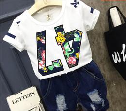Wholesale Denim Print Brief - 2017 Summer New boy Sets Printed cotton Short sleeve t-shirt+denim Shorts 2 Piece Outfits Children Clothes M0003