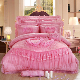 Wholesale chinese bedspread queen - Wholesale-4 6 pcs Oriental lace red pink luxury bedding set queen King size wedding bed cotton bed sheets duvet cover set bedspreads