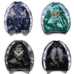 Wholesale Pink Baseball Jackets - Japan Yokosuka Jacket Men Women Unisex Fashion Bomber Jacket Crane Bird Embroidery Baseball Uniform Kanye West Clothing