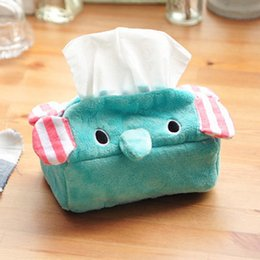 Wholesale Blue Napkins Paper - Wholesale- 1 Pcs.Kawaii Blue Circus Elephant Tissue Case Holder Removable Paper Napkin Home Decorated Cartoon Tissue Boxes