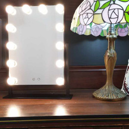Wholesale Dimming Mirror - White Warm Led Hollywood Makeup Vanity Mirror With 12 Lights Stage Large Beauty Mirrors Dimmer