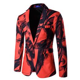 Al por mayor-2016 nueva chaqueta de traje de los hombres de Europa Occidental con un solo botón de impresión de marca de alta calidad hombres chaqueta de traje de Terno Masculino desde fabricantes