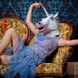 Wholesale Fun Halloween Costumes - Fun Halloween Costume Masquerade Mask Party Cos Masks Novelty Latex Halloween Props Performance Dance Horse Costume Animal Adult