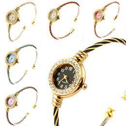 Wholesale Bangle Bracelet Wrist Fashion Watch - Fashion Women's Dress Girl's Steel Wire Crystal Quartz Bracelet & Bangles Wrist Watch