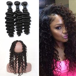 Wholesale wholesale lace frontals - Deep Wave Curly 360 Lace Frontal Closure With Bundles Indian Virgin Hair 22.5*4*2 Free Part 360 Full Lace Band Frontals Natural Hairline