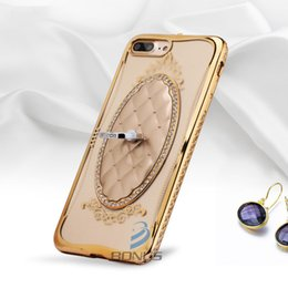 Wholesale Electroplated Rings - Luxury Soft TPU Case with Rhinestone Diamond for iPhone 7 7plus 6 6s Plus 5 5s Electroplating Ring Holder case