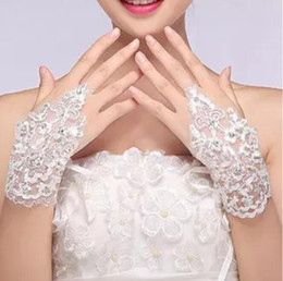 Wholesale Lace Fingerless Short White Gloves - Wholesale Sheer Lace Fingerless Short Bridal Gloves For Women Rhinestone Ivory Appliques Sequins Wrist Length Lace Up Bridal Accessories