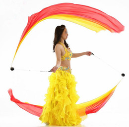 Wholesale Streamers Throws - 2pcs Real Silk Veil POI Streamer Thrown Balls Belly Dancer Stage Performance Props Bellydance Costume Accessory