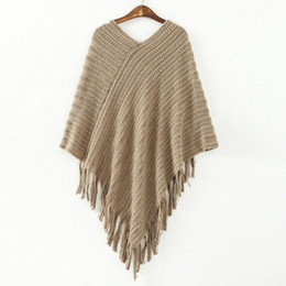 Wholesale Fringe Cape - Autumn winter women's dress new European and American style irregular fringe fringe mosaics of cape caped sweater wholesale